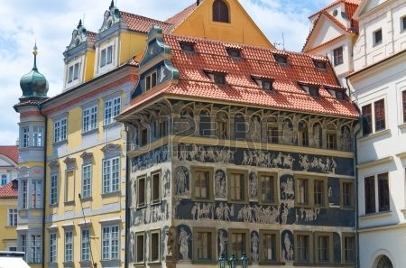 The House with Sgraffito Art Old Town Square Prague Czech Republic was built at the beginning of the Stock Photo: