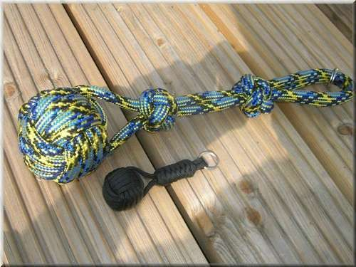 Dog or Kids toy - put a hard or soft ball in the middle depending on use. Use real rope for this.