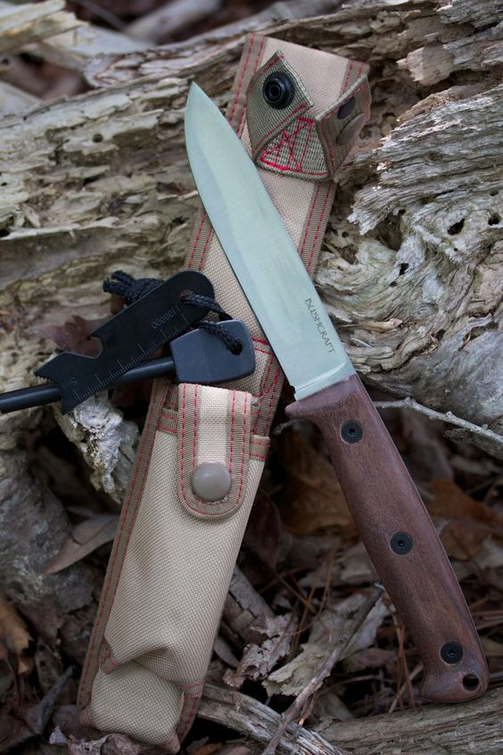 "Ontario Bushcraft Field Knife Fixed 5"" 5160 Carbon Blade, Walnut Wood Handles, Nylon Sheath - KnifeCenter"
