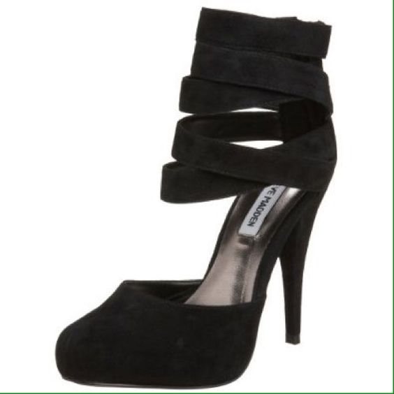 Steve Madden Tayla Strappy Black Stiletto Heels Lightly worn black leather suede heels.  Size 6.5M leather upper.  Zipper on back.  They are too small for me so I'm sorry I can't show them on, just look up Tayla Steve Madden and you'll see plenty of photos!  Best offer wins! Steve Madden Shoes Heels