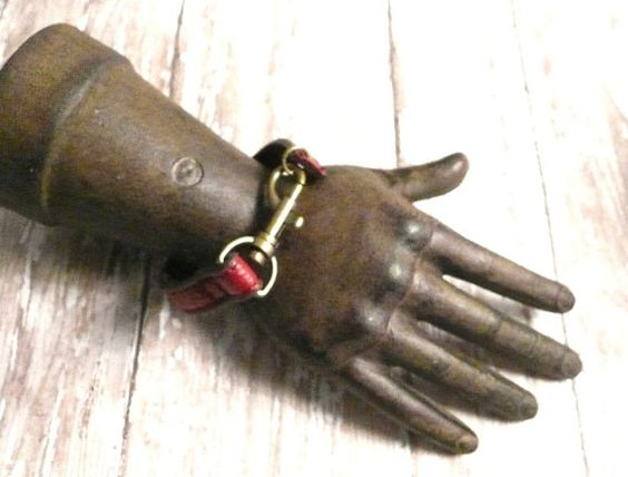 OOAK Red Leather Latch Cuff Bracelet Recycled by VagabondChicks, $14.00