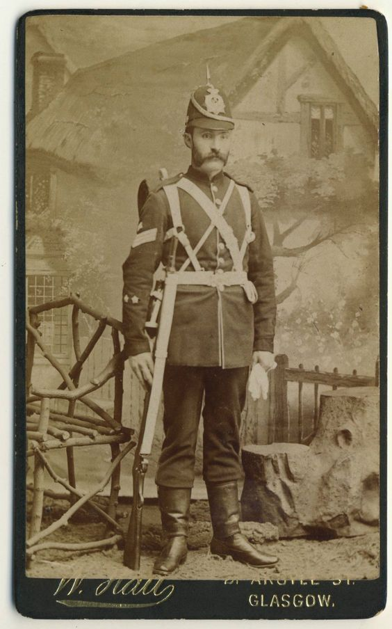 SOLDIER with rifle by Glasgow photographer 1890