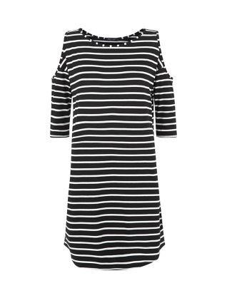 Black Stripe Open Shoulder Swing Dress  | New Look