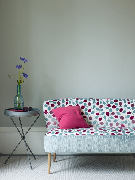 Sofa covered in Leafield and Honeycomb fabrics by Jane Churchill
