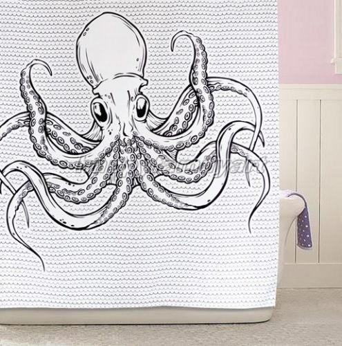 Noir Animal Pieuvre Bathroom Fabric Shower Curtain Rideau DE Douche YA028 | eBay