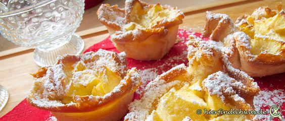 Leckere und schnelle Fruehstuecksidee, Toast Muffin mit Apfel und Zimt. Abwechslung auf dem Fruehstueckstisch oder einem Buffet, Party, Kindergeburtstag.