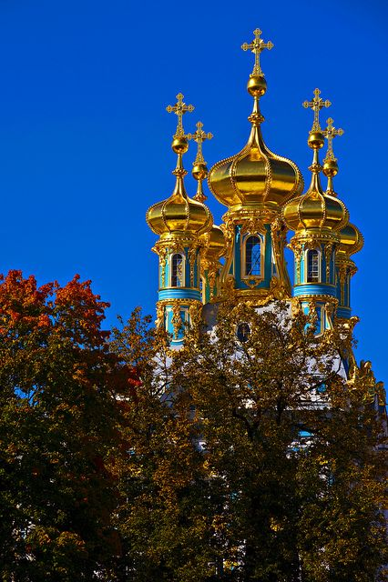 Golden Domes of Catherine's Palace, Tsarskoye Selo, Russia.