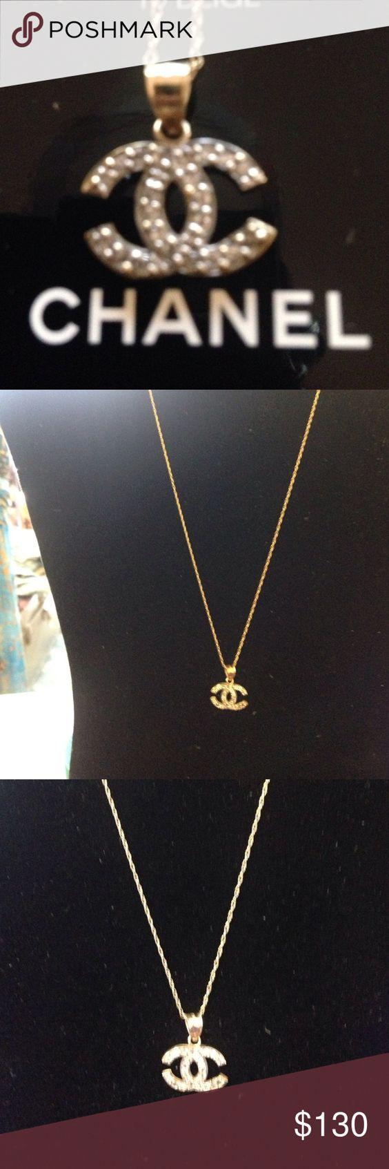 10 k  Chanel gold necklace crystal 10k crystal gold Chanel necklace CHANEL Jewelry Necklaces