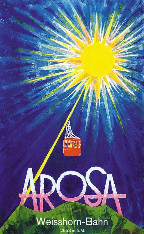 Poster by Donald Brun / Arosa - Weisshorn-Bahn / 1953
