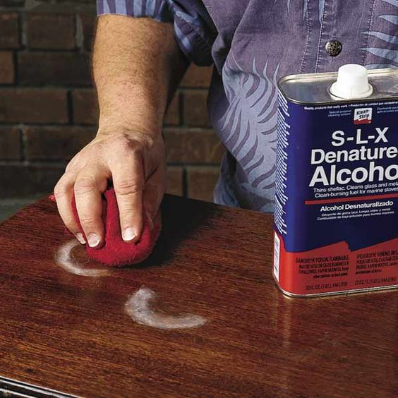 how to remove water stains and scratches from wood furniture surface, then finish with extra fine 0000 steel wool and car wax to restore gloss finish.
