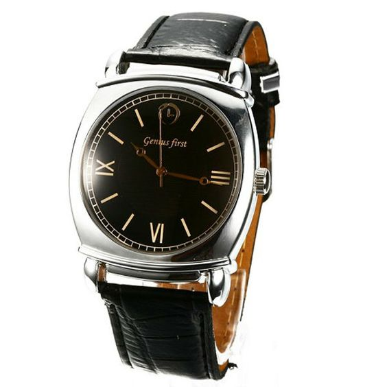 2013 new business PU leather strap stainless steel back man quartz watch