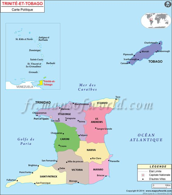 Trinidad Et Tobago Carte Trinite Et Tobago Carte Du Monde