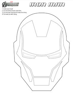 Printable Iron Man Mask to Color for kids | FUN STUFF for ...