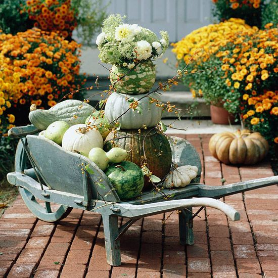 Pumpkin Wheelbarrow Display  Green and cream pumpkins are well-suited for early fall, when summer still lingers. Assemble the gourds in a wooden wheelbarrow, adding berry vines for extra color and stacking pumpkins to give height to the tableau. As the season progresses, incorporate more orange and yellow gourds to capture the changing landscape of autumn.