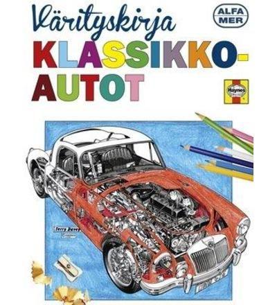 Klassikkoautot aikuisten värityskirja