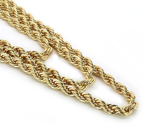 Men S 14k Gold Plated High Fashion 10mm Thick Heavy Rope Chain Necklace 24 30 36 Inches Shoe Necklace Chain Necklace 14k Gold Plated