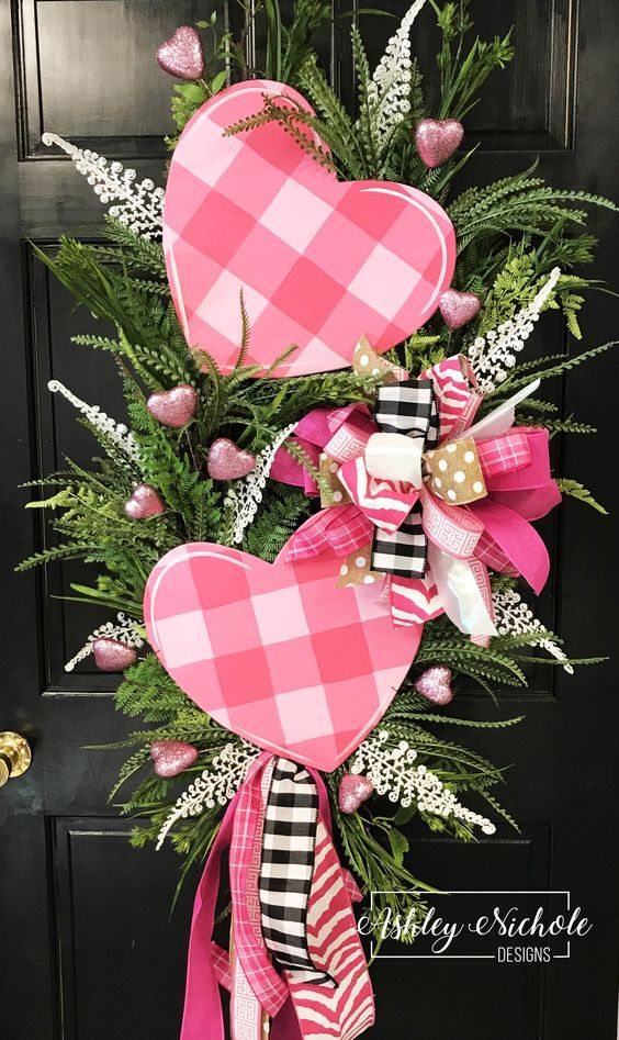 Double Pink Buffalo Check Heart Swag Wreath Diy Valentines Decorations Valentine Decorations Valentine Day Wreaths