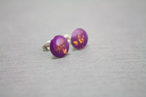 Violet grape 10mm resin earring with red gold by Metropoli10resin, $20.00