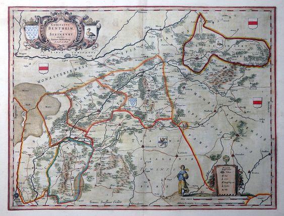 NIEDERSACHSEN COMITATUS BENTHEIM ET STEINFURT JANSSONIUS WAPPEN KARTUSCHE 1645 in Antiquitäten & Kunst, Grafik, Drucke, Ansichten & Landkarten | eBay