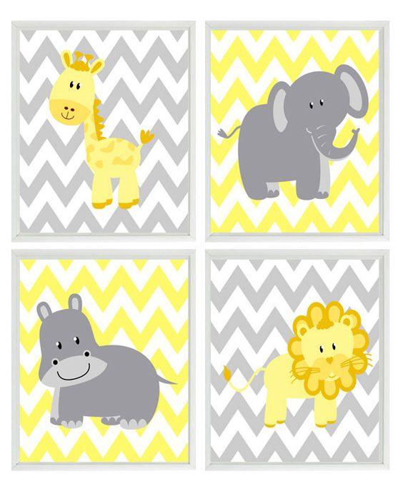 Yellow Gray Nursery - Chevron Elephant Giraffe Hippo Lion Safari Wall Art Print Set   - Children Kid Room Home Decor Wall Art