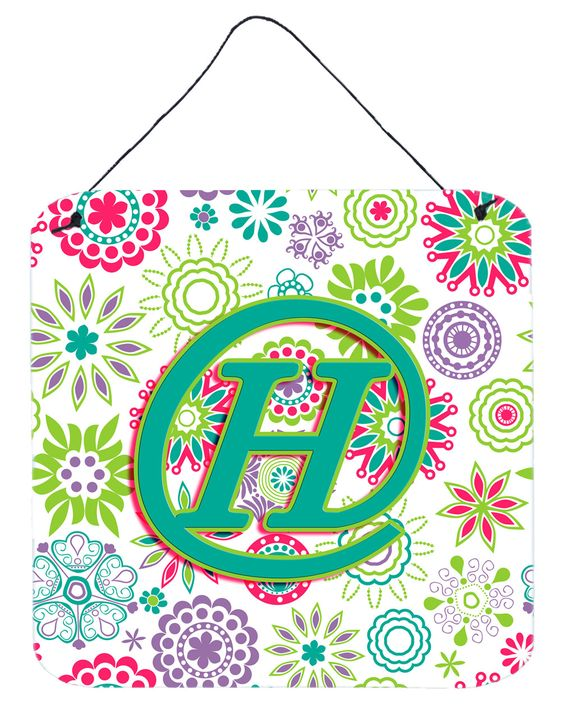Letter H Flowers Pink Teal Green Initial Wall or Door Hanging Prints CJ2011-HDS66