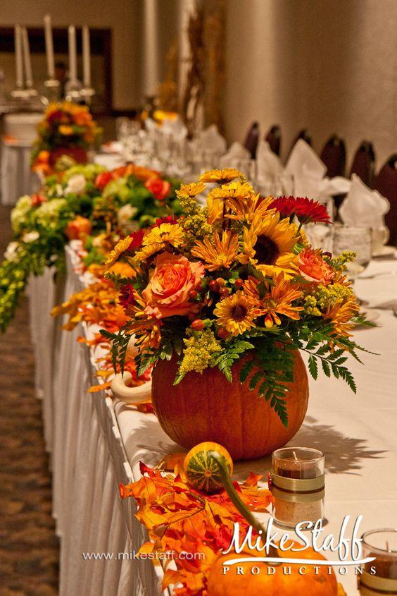 Fall autumn reception wedding flowers decor