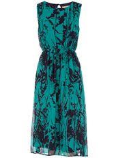 Jade and navy midi dress