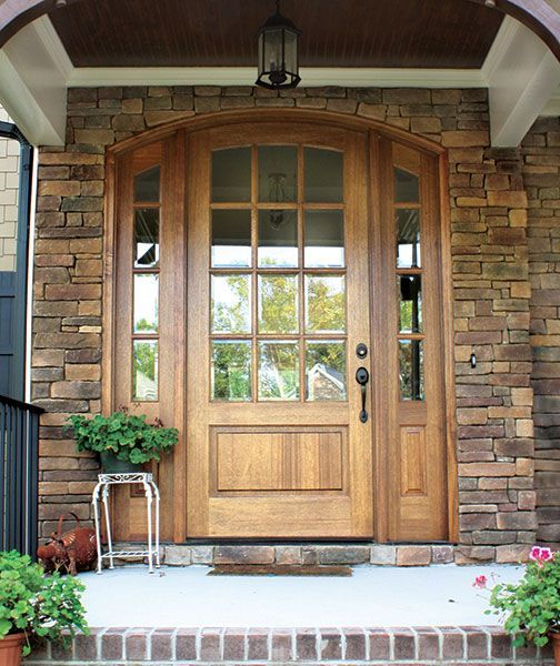 Mahogany Trinity Tdl 12 Lite Single Door 2sidelite Arch Top 2 1 4 Thick In 2020 Craftsman Front Doors Arched Exterior Doors Garage Door Design