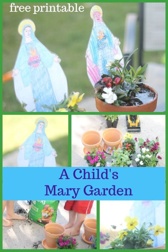 Create a beautiful and simple Marian garden with your little ones.  Included is a free printable Mary statue to color and stand in the garden.