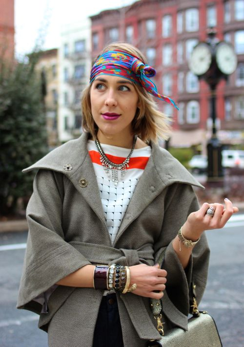 Tweed capelet and stacked bracelets