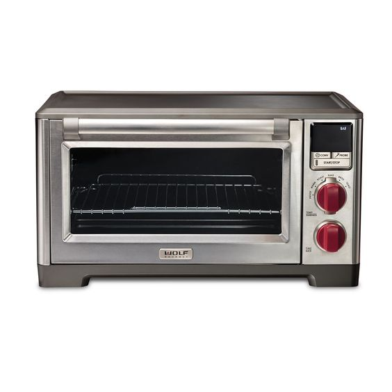 "Wolf Countertop Oven  Advanced convection function Integrated temperature probe Precision temperature control 6 Cooking modes 5 Heating elements Easy-glide rack Removable crumb tray Nonstick interior Includes baking pan with broiling rack Fits most 9"" x 13"" stoneware dishes 120V~ 60Hz 1800W 5 year limited warranty  Your Price: $499.95 Suggested Retail Price: $669"