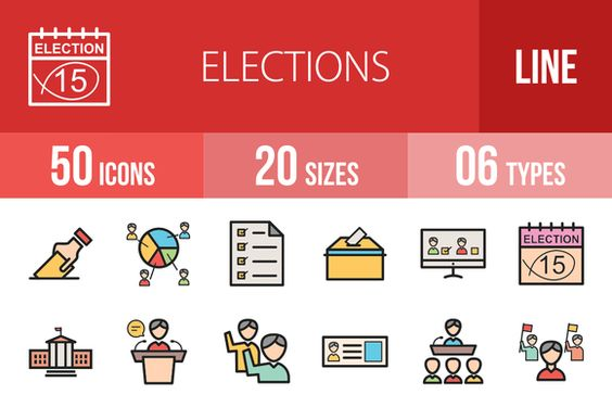 Elections Line Filled Icons @creativework247