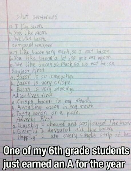 I think this kid likes bacon. This is so funny. Just had to post it.