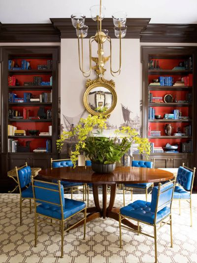 Steven Gambrel Dining Room With Painted Bookshelves And Funky Chairs Dining