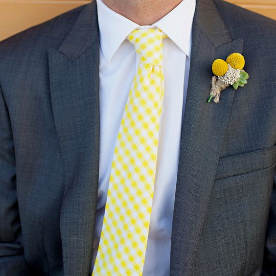 Men 39 s tie yellow gingham yellow and white check for Mens yellow gingham shirt