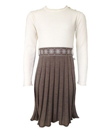 Love this Brown & White Snowstar Merino Wool Dress - Toddler & Girls by Mole - Little Norway on #zulily! #zulilyfinds