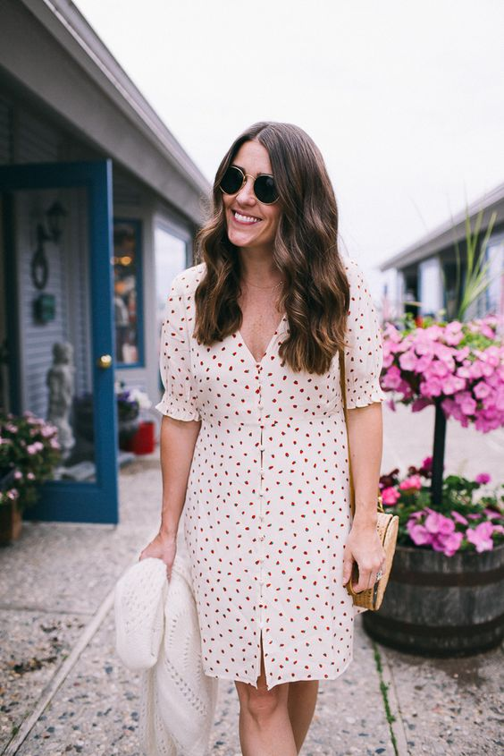 Strawberry Print Dress | Dresses for 4th of July, What to Wear for Fourth of July