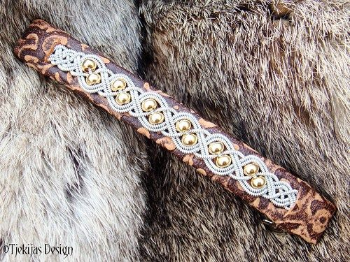 Scandinavian Viking Sami Leather and Pewter braid Barrette Hair Clip. Custom handmade to your choice of leather color.  Design: BIFROST Gold.  14K Goldfilled beads braided into spun Tin thread / Pewte