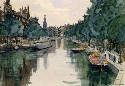 "huariqueje: ""  Amsterdam - Ostroumova-Lebedeva Anna Petrovna , 1913 Russian, 1871 - 1955 Watercolour on paper. 34 x 48 cm Kyiv National Museum of Russian Art, Ukraine """