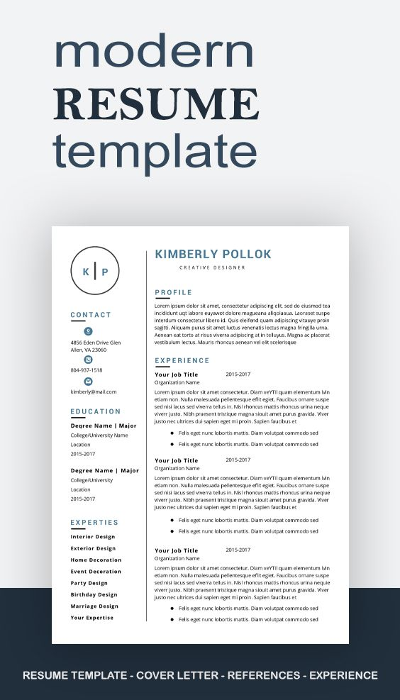 Resume Template Professional Resume Template Instant Etsy In 2021 Resume Template Resume Template Professional Resume Template Free