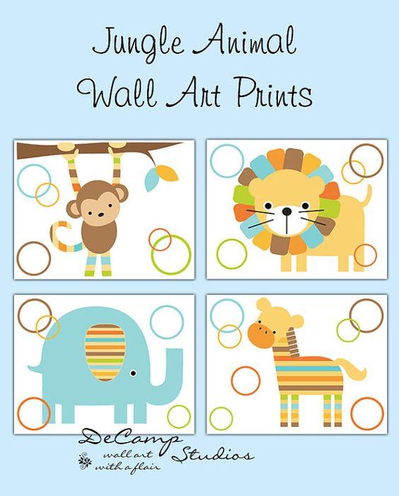 Owls Jungle Animals Wooden Bedroom Furniture Kids: SAFARI ANIMAL PRINTS Or Decal Wall Art Baby Boy Jungle Zoo