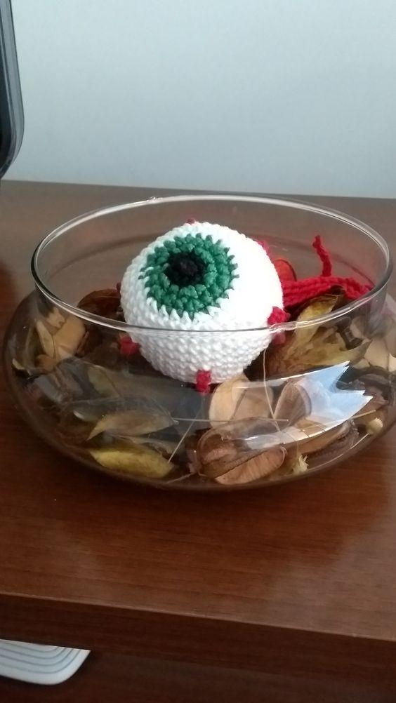 Chaveiro de Crochê - Olho de Halloween