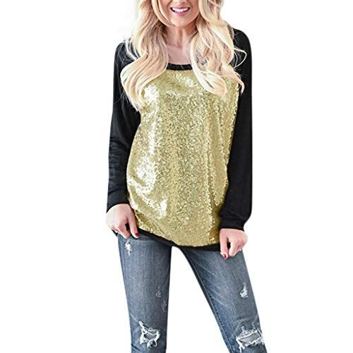 ca43d1c6f6a52 TWGONE Sequin Tops for Women Long Sleeve Black Casual O-Neck Patchwork  Blouse