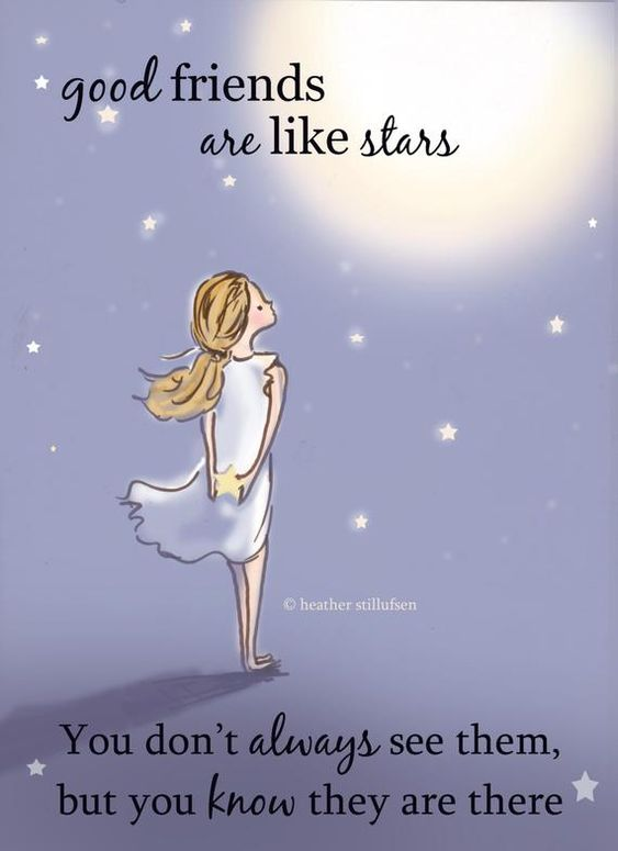 One of my favorites...... good friends are like stars you dont always see them, but you know they are always there *This is a print of my Original Illustration * Printed on gorgeous Epson archival print paper. * Will ship in a protective sleeve to prevent bending in transit * This will come