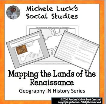 Mapping the Lands of the Renaissance Activity (Part of my Geography IN History Series)This mapping activity guides students through mapping the physical features and significant places of the Renaissance by researching 15 different questions and topics on the region.