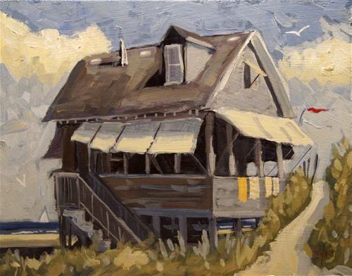 """Beach Cottage 6"" - Original Fine Art for Sale - © Kevin Larson"