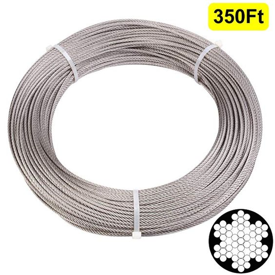 Blika 200 Feet 1 8 Inch Stainless Aircraft Steel Wire Rope Cable For Railing Decking Diy Balustrade 7x7 Construc Stainless Steel Cable Cable Railing Railing