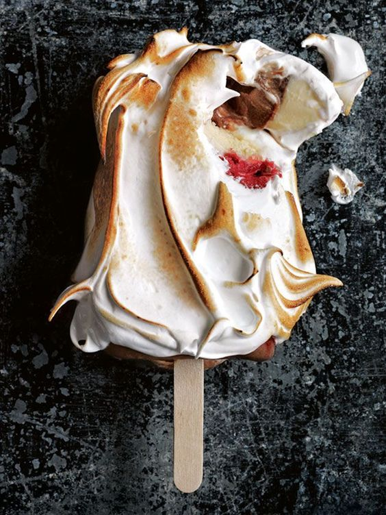 Raspberry And Chocolate Toasted Meringue Popsicles