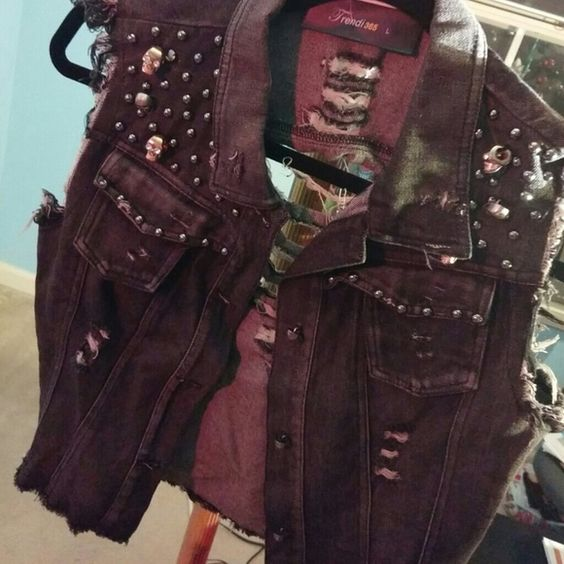 NWT-Blk Denim Studded Vest with the Ripped Look Black Denim Vest with studs and the ripped effect! Jackets & Coats Vests
