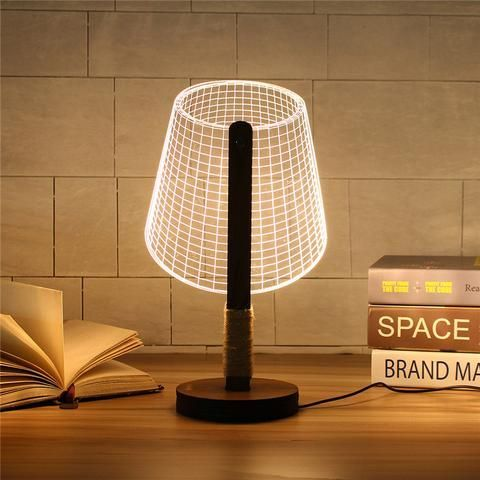 Dimmable Acrylic 3d Led Table Lamp Base Wood Dekor